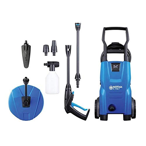 Kew Nilfisk Alto 128470804 C110.7-5 PCA X-TRA Pressure Washer with Patio Cleaner & Brush, 110 Bar, 240V