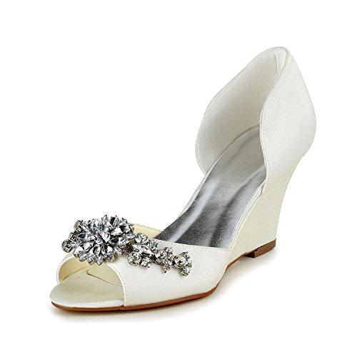 JIA JIA 1217511 Zapatos de Novia de Las Mujeres Peep Toe Cuña...