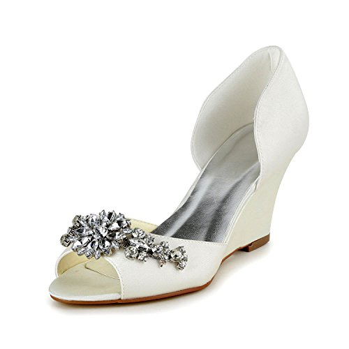 JIA JIA 1217511 Damen Brautschuhe Peep Toe Keilabsatz Satin Pumps Strass Hochzeitsschuhe Farbe Weiß,Größe 38 EU