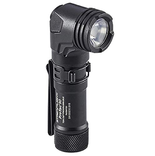 """Streamlight 88088 ProTac 90 Right-Angle Light with CR123A Lithium Battery & AA Alkaline Battery & Nylon Holster - 300 Lumens, Black, Length: 3.78"""""""