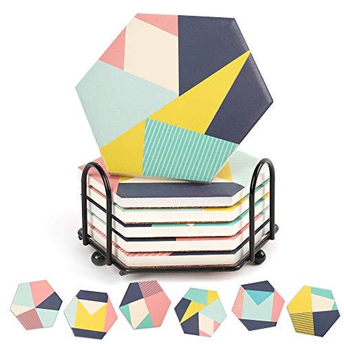 6 posavasos de cerámica absorbente de mármol hexagonal con soporte de metal, parte trasera de corcho, diámetro 10,3, altura 0,7 cm
