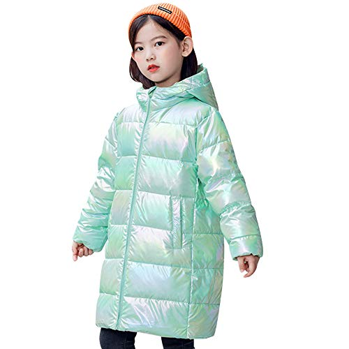 amropi Niñas Plumas Chaqueta con Capucha Invierno Abrigo Caliente Ligero Largo Abrigos Ropa para Chicas Verde,9-10 años