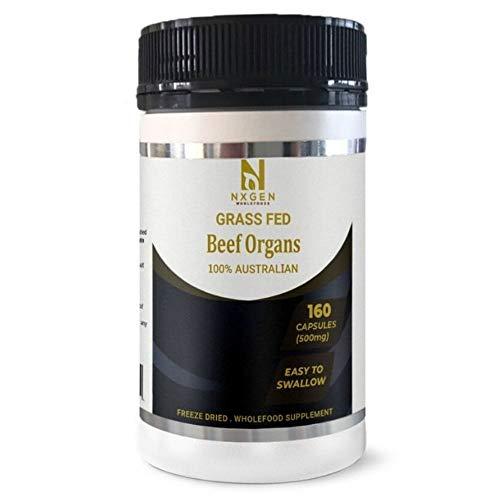 Grass-Fed Beef Organs, Freeze-Dried) Australian. 160 Gelatin Capsules