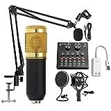 LLTFFFHM Microphone Bluetooth Mixer Sound Card Condenser Jeu Audio DJ Live Broadcast Mic USB...