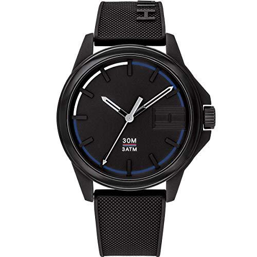 Tommy Hilfiger Herren Analog Quartz Uhr mit Silikon Armband 1791624