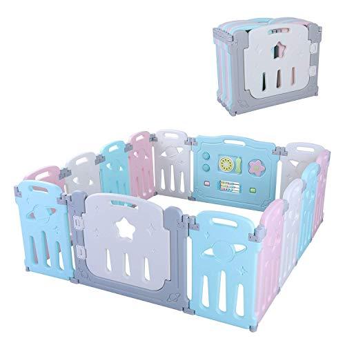 Bamny Laufgitter Laufstall Baby Absperrgitter Krabbelgitter Schutzgitter für Kinder aus Umweltfreundlicher Kunststoff mit Tür,Ein-Klick-Falzen,ohne Weichmacher(14 Panels,mit Tür)