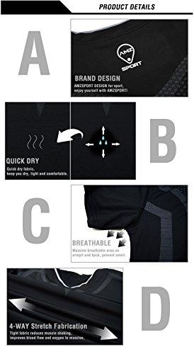 AMZSPORT Herren Kompressions-Shirt Kurzarm Funktionsshirts Baselayer Kurzarm,Schwarz,S - 3