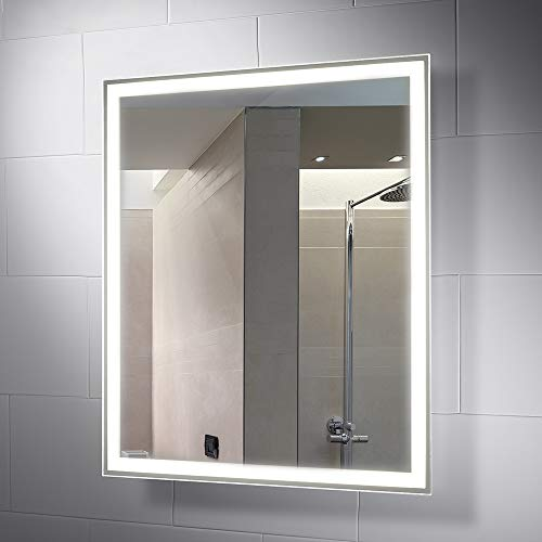 Pebble Grey 28 x 32 Inch Bathroom Mirror with LED Illuminated Lights -