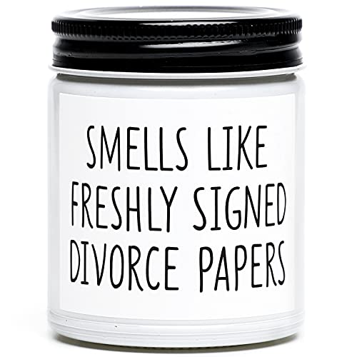 Funny Divorce Gifts for Women, Freshly Signed Divorce Papers Scented Candle, Unique Divorce, Break Up Gifts for Best Friends, Sister, BFF, Coworkers, Her