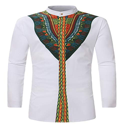 Herrenmode Slim Fit Businesshemd Sommer Dünn Klassischer Ethno-Stil Print Lässig Langarm Button Shirt L