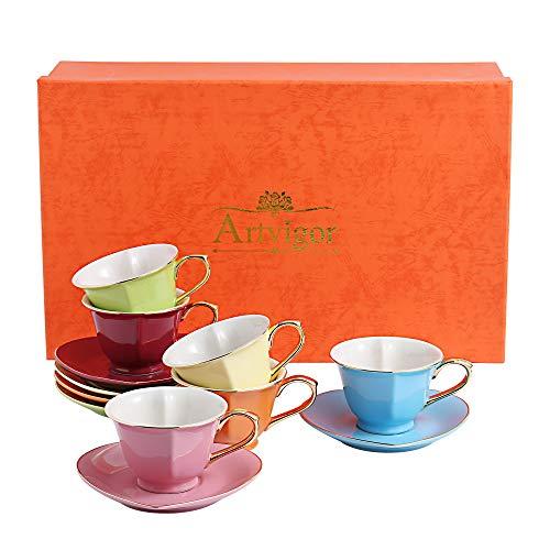 Artvigor, Porzellan Kaffeeservice, Bunt 12 teilig Kaffee Set, mit je 6 Kaffeetassen 150 ml und Untertassen, Herz-Design