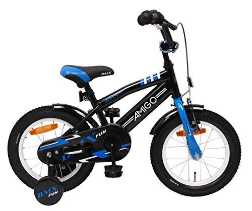Amigo BMX Fun- Vélo Enfant pour garçons - 14 Pouces - avec Frein à Main, Frein à rétropédalage, Sonnette de vélo et stabilisateurs vélo - à partir de 3-4 Ans - Noir/Bleu