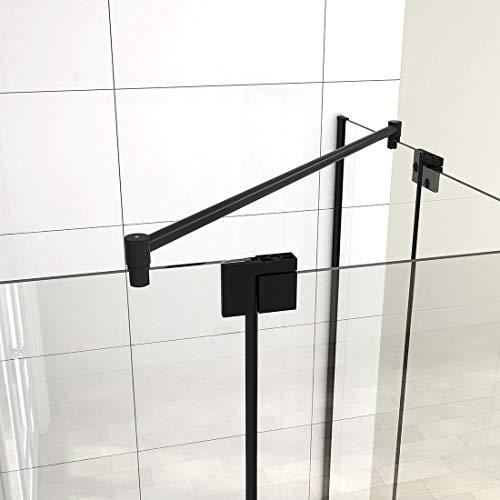 Haltestange für Duschwand Stabilisator Haltestange Glas-Glas 6-10 mm, Stabilisierungsstange für Duschen Edelstahl Schwarz (1000mm, 1 Stück)