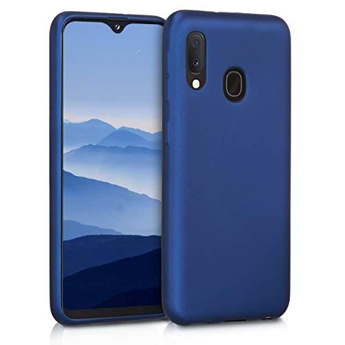 kwmobile Cover Compatibile con Samsung Galaxy A20e - Protezione Back Case Silicone TPU Effetto Metallizzato - Custodia Morbida Blu Metallizzato