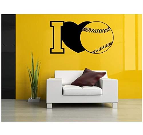 Selbstklebende Schwarze Wandaufkleber Abnehmbare Kunst Dekoration Ich Liebe Baseball Dekor Mädchen Jungen Kinder Schöne Sport Wandbild Tapete Wasserdichte Applikation 42X82cm