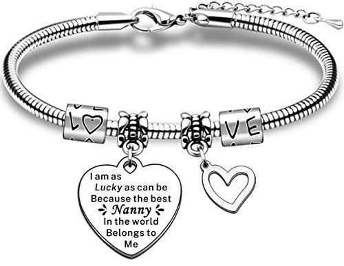JMIMO Nanny Bracelet Nanny Gifts from Grandchildren Adjustable Charm Snake Bracelet Jewelry Gift for Nanny Nan Nannie