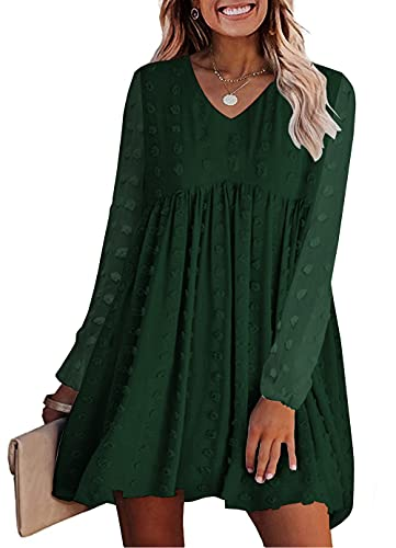 KIRUNDO Women's Dresses Long Sleeves Short Mini Dress Sexy V Neck Flowy Casual Dress Swiss Dot Loose Fit Babydoll Dress (Dark Green, Large)