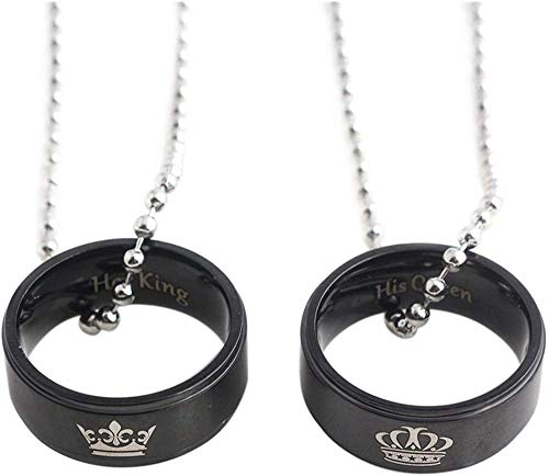 JIUJIN 1 Pair Lovers Ring Pendant Necklaces Her King His Queen Crown Pattern Necklace Color Black Present For Couple