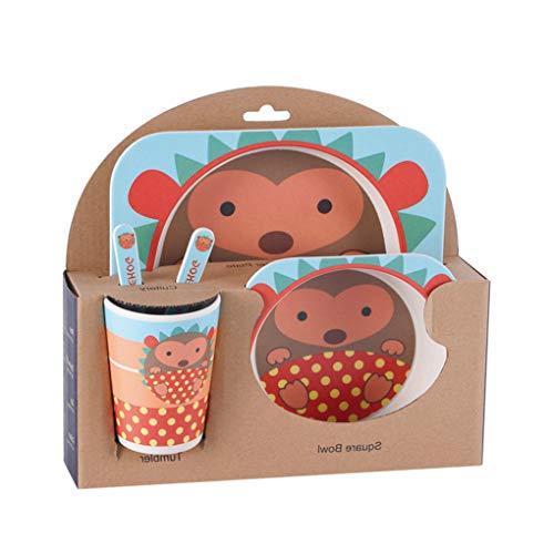 Rekkles Kinder-Geschirr-Set 5er Baby-Bambusfaser-Cartoon Bambusfaser Bowl Tier Geschirr Set Kleinkind-Cup-Löffel-Gabel