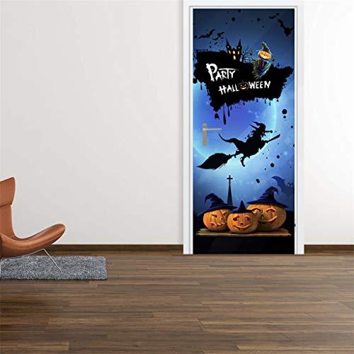 OIODI® 3D Kreative Türaufkleber Halloween Kürbis Laterne Hexenbesen 95x215cm selbstklebend Innentüren Art Decals Wandtapete PVC Fototapete Tapete Abnehmbar Türfolie Poster Wohnzimmer Küche Schlafzimme