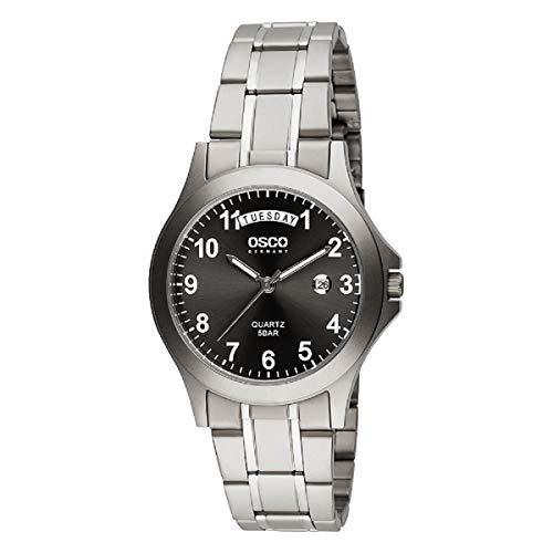 OSCO Germany 02283005 - Orologio da uomo analogico con cinturino in titanio