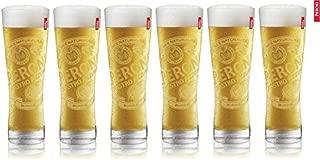 6 Peroni Etched Signature Italian Beer Glasses 0.3L New