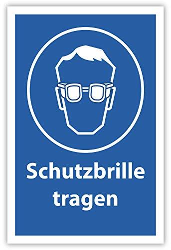 SCHILDER HIMMEL anpassbares Schutzbrille tragen Arbeitsschutz Schild 29x21cm Alu-Verbund mit Schrauben, Nr 500 eigener Text/Bild verschiedene Größen/Materialien