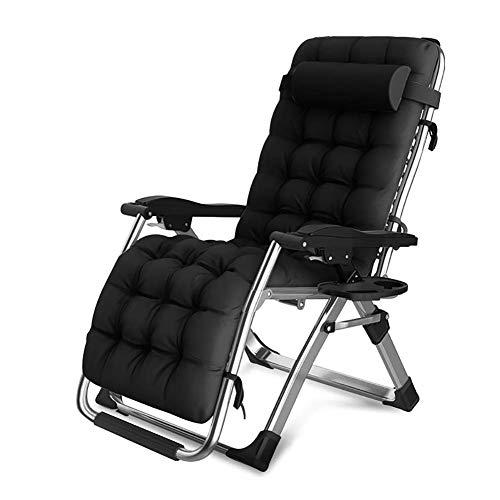 DQCHAIR Gepolsterter Relax Liegestuhl, Gartenliege Schwerelosigkeit Lounge-Sessel Folding Tragbarer Relaxliege Klappbar Und Verstellbar mit Kopfstütze für Strand, Schwimmbad, Garten (Color : Black)