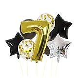 Wgxssjc Globo Oro Negro Número Hoja hincha años supp Aniversario del Partido Grupo Digital Globo de Aire cumpleaños de los niños (Color : 7)
