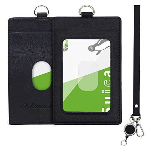 Aemicion 定期入れ パスケース パス入れ リール付き ストラップ付き icカードケース カードケース 革 二面 メンズ レディース 通勤 通学 ブラック (ブラック)