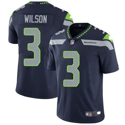 LONG-B NFL Trikot Seattle Seahawks # 3# 12, Fußball Trikot Kurzarm Trikot Sporthemd,Black 3,M