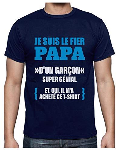 Fier Papa d'un Garçon Géniale Cadeau de Fête de Pères T-Shirt Homme X-Large Marine