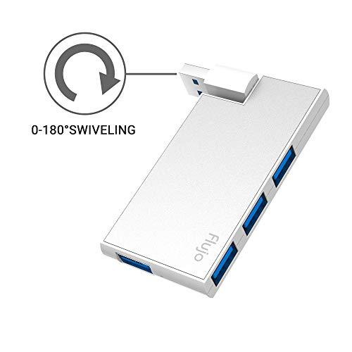 Flujo USB3.0ハブ 4ポートハブ USB回転可能 5Gbps高速USB3.0 HUB バスパワー 軽量 超小型 Windows/mac対応 ラップトップおよびSurface Pro 4/5/6 (シルバー)