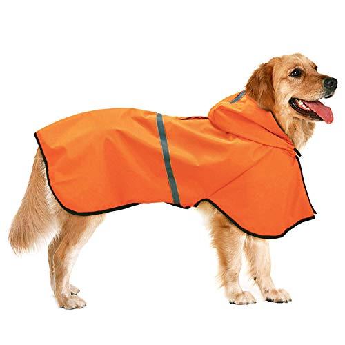 Dociote Imperméable pour Chien avec Capuchon et Trou de Harnais Manteau de Pluie étanche Respirant Veste de Pluie pour Chiens Petits Moyens Orange 6XL