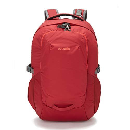 Pacsafe Venturesafe G3 25 Liter Rucksack, Anti-Diebstahl Technik, 100D Nylon Diamond Ripstop, Daypack, Wanderrucksack, Reisegepäck mit Sicherheitstechnologie, 25 Liter, Rot/Goji Berry