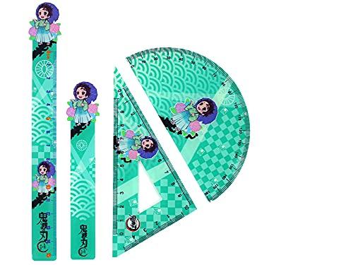 定規 半円分度器 三角定規 算数定規セット しおり ブックマーク シャープペン 多機能 製図 数学 学用品 定規セット 作図ツール 中学生 小学生 幾何学用品 文房具 グッズ 4点セット
