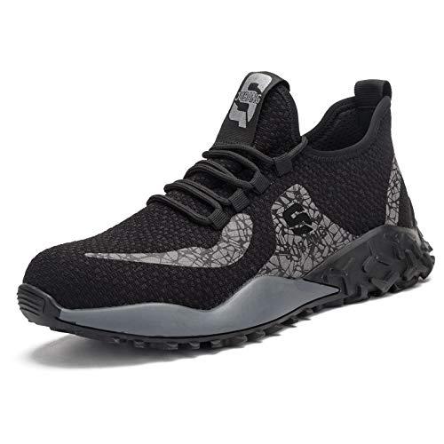 Zapatos de Seguridad para Hombre Mujer,Zapatos De Construcción Industrial para Mujeres Ligeros Y Transpirables con Puntera De Acero para Tenis,Grey-46