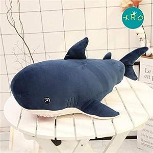 JLYLY tiburón Lindo Juguete de Felpa de descompresión Almohada Almohada calmante muñeca Acuario de la decoración del hogar Mujer Niños,Azul,80cm
