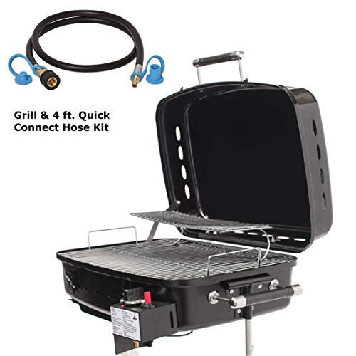 Flame King RV Or Trailer Mounted BBQ - Motorhome Gas Grill - 214 Sq Inch Cooking Surface - Adjustable Flame Controller & 48 Inch Quick Connect Hose Connectors Grill Hoses