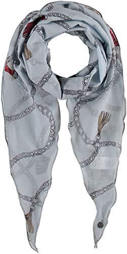 FRAAS Damen Schal aus 75% Wolle und 25% Seide - 40 x 160 cm Größe - Wollschal/Seidenschal Maritimer-Print - Perfekt für Frühling & Sommer Hellblau