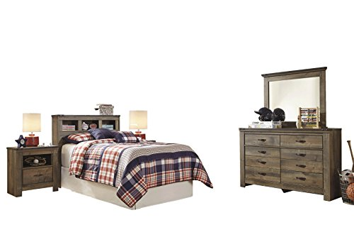 Ashley Trinell 5PC Bedroom Set Full Bookcase Headboard Two Nightstand Dresser Mirror in Brown