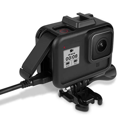 【Taisioner】GoPro HERO 8 BLACK専用保護フレーム プッシュイン型 直接充電可能 衝撃吸収 着装快適 マイク・ディスプレイ・ライト用装着位置付き(一つ) ブラック