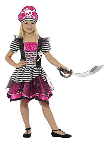 Smiffys-21981L Disfraz Pirata para Chica, con Vestido y Sombrero, Color Negro y Rosa, L-Edad 10-12 años (Smiffy