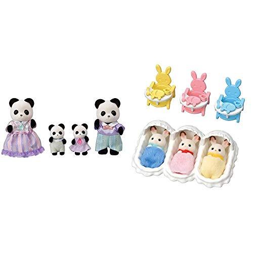 シルバニアファミリー 人形 パンダファミリー FS-39 & シルバニアファミリー 人形・家具セット ショコラウサギのみつごちゃんお世話セット セ-204【セット買い】