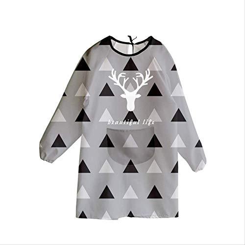 mhde Aprons Waterdicht En Olie-Proof Lang-Sleeved Schort Koreaanse Mode Keuken Jurk Volwassen Leuke Vrouwelijke Overalls B Zwart