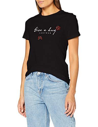 ONLY Damen ONLKIKI Life REG S/S Ladybug TOP Box JRS Bluse, Black, M