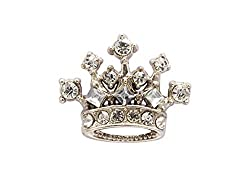 Silver Crown With Stone Detailing Lapel Pin Brooch