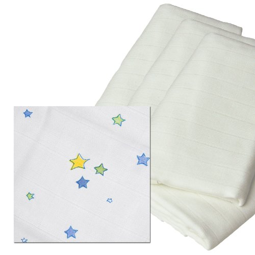 Odenwälder 10025-1776 Mullwindeln bedruckt Sterne 3er Pack