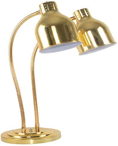 Lámpara de retención de alimentos Calentador de exhibición de buffet, lámpara de calefacción portátil comercial para hotel, cocina y cafetería de acero inoxidable de doble cabezal, manguera giratoria