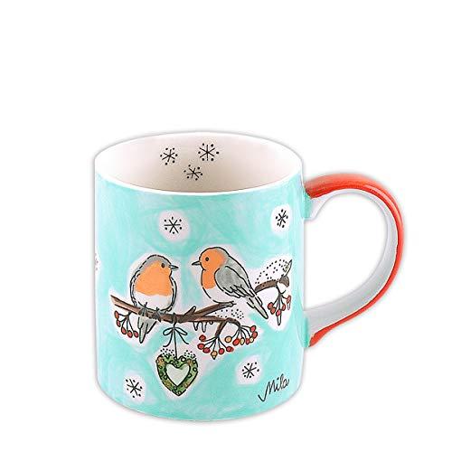 Mila Keramik-Becher, Wintervögel | MI-80158 | 4045303801585